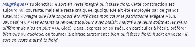 Malgré que - Larousse.fr